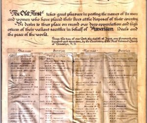 This 100-Year-Old Plaque Lists Old First Members Serving in World War I