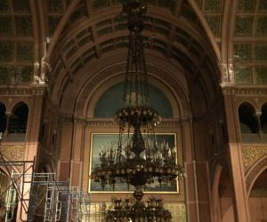 Watch the Lowering of the Old First Chandelier
